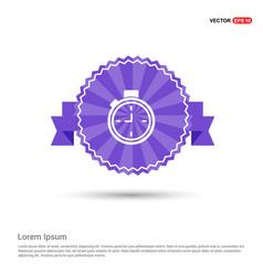 clock icon - purple ribbon banner vector image