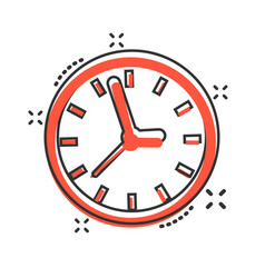 clock sign icon in comic style time management vector image