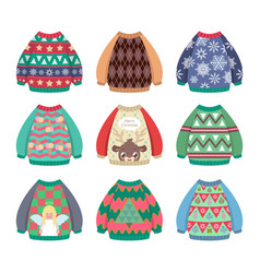 Collection of ugly colorful christmas sweaters vector