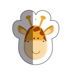 Color sticker with giraffe head and middle shadow vector