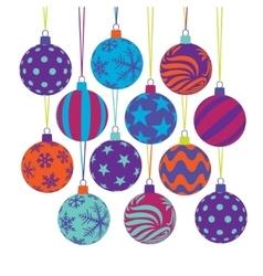 Colorful christmas balls set vector image