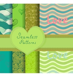 Colorful seamless patterns set vector image
