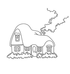 Coloring book page snowbound house vector
