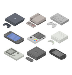 Console icons set isometric style vector