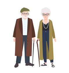 cute elderly couple or grandparents pair old vector image