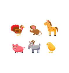 Cute farm animals set turkey horse pig goat vector