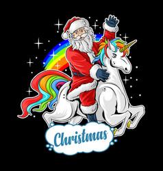 cute santa claus rides cute unicorn vector image