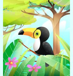 Cute toucan in green nature scenery vector