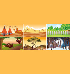 Different scenes with animals and nature vector