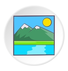 Drawing mountain landscape icon cartoon style vector image