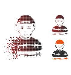 Dust dotted halftone camp prisoner icon vector