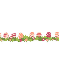 Easter eggs seamless border flower bushes vector
