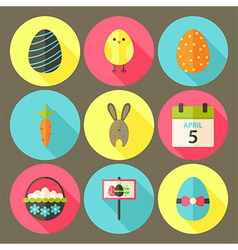 Easter flat styled circle icon set 6 with long vector