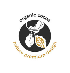 eco logo organic label cocoa tree vector image