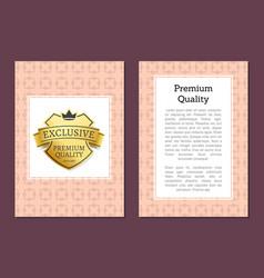 exclusive premium quality golden label isolated vector image