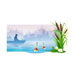 fisherman at fishing in boat vector image