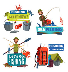Fishermen with fishing rod fish catch and tackle vector