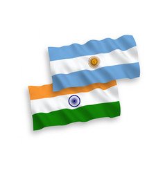 Flags india and argentina on a white background vector