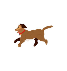 flat running dog pet icon vector image