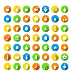Fresh fruits and vegetables flat round icons set vector image