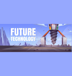Future technology cartoon banner with drilling rig vector