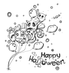 ghost with balls - halloween doodles vector image