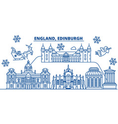 great britain edinburgh winter city skyline vector image