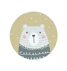 hand drawn funny cute polar bear vector image