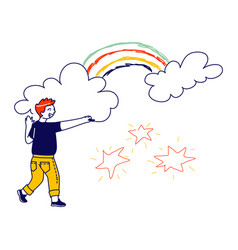 happy boy drawing stars rainbow and clouds child vector image