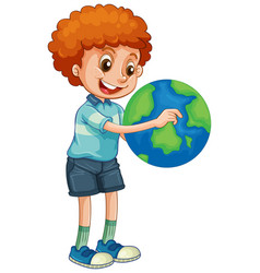 happy boy holding globe isolated vector image