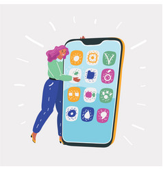 happy young woman hugging phone vector image