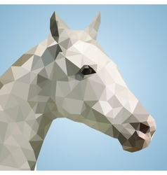 Head of a white horse in triangular style vector
