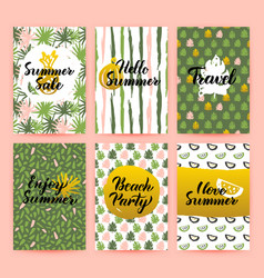 hello summer trendy brochures vector image
