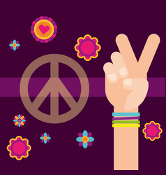 Hippie hand peace and love flowers free spirit vector
