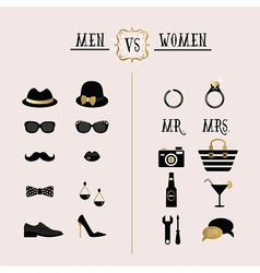 Hipster Men Vs Women accessories design icons set vector