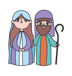 Holy mary and joseph manger nativity merry vector