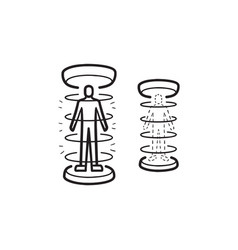 Human teleportation hand drawn outline doodle icon vector