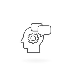 Icon of gear and bubble chat in head vector