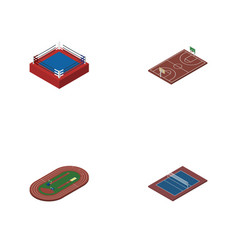 Isometric sport set of tennis run stadium vector