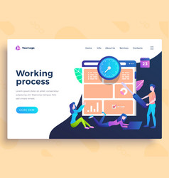 landing page template working process concept with vector image