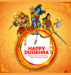 Lord rama with laxmana and hanuman in dussehra vector