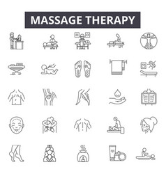 Massage therapy line icons signs set vector