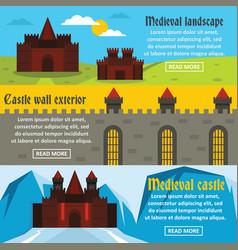 medieval castle banner horizontal set flat style vector image