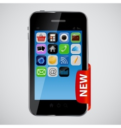 mobile phone with red label vector image