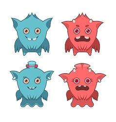 Monster emotion set vector image