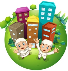 Muslim couple and buildings vector image