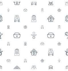 Nursing icons pattern seamless white background vector