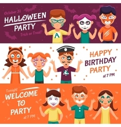 Party With Greasepaint Banners Set vector image