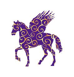 pegasus pattern silhouette mythology symbol vector image