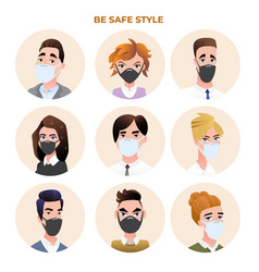 people avatars wearing medical masks set vector image